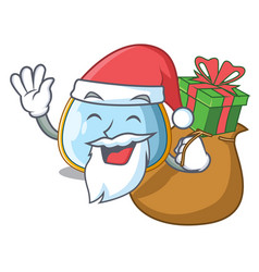 Santa with gift baby bib isolated on the mascot vector