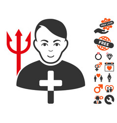 Satan priest icon with love bonus vector