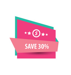 Save label design pink and green vector