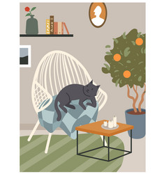 scandinavian hygge cozy interior with armchair vector image
