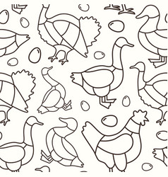 seamless pattern in thin line style for butchery vector image