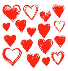 set hand drawn hearts design element vector image