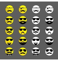 Set of hipster emoticons with beards and mustaches vector