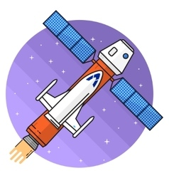 Ship flying in space on the white background vector image