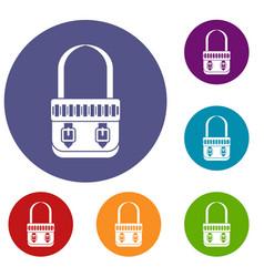 shoulder bag icons set vector image