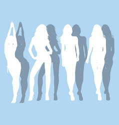 silhouettes beautiful girls vector image