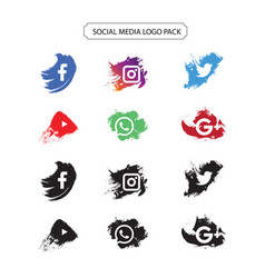 Social media logo pack in paint brush style vector