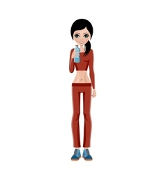 Sports girl with a water bottle vector image