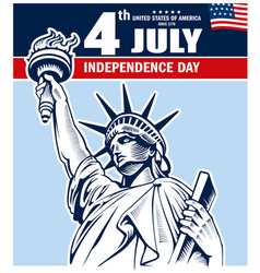 Statue liberty nyc usa independence day vector