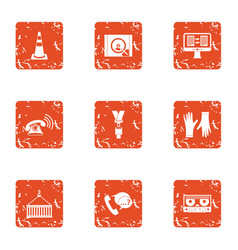 Storehouse icons set grunge style vector