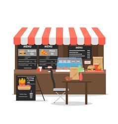Street food kiosk flat style design vector
