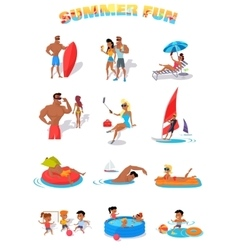 Summer Holidays Color Icons with People vector image