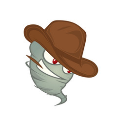 Texas tornado with red eyes in a cowboy hat with a vector