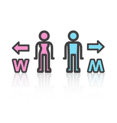 toilet sign and reflection stick man style vector image