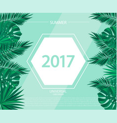 trendy summer banner poster with tropical plants vector image