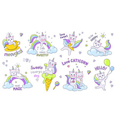 unicorn cats cute doodle characters with kawaii vector image