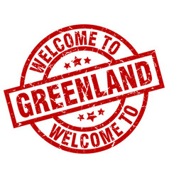 Welcome to greenland red stamp vector