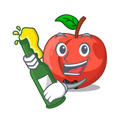 With beer fruit of nectarine isolated on mascot vector