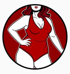 women swimsuit model plus size vector image