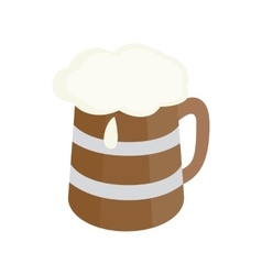 Wooden mug with beer icon isometric 3d style vector image