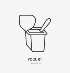 Yogurt with spoon flat logo breakfast icon dairy vector