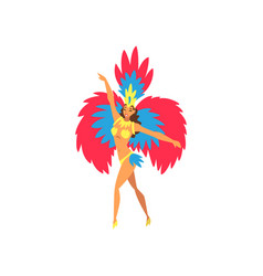 Young woman in bright festival costume dancing vector