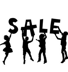 Children holding a sale message vector image vector image