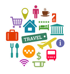 flat travel related icons set vector image vector image