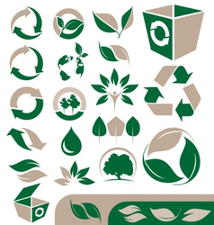 Green and recycling icons set vector
