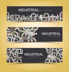 industrial machinery horizontal banners vector image