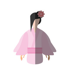 japanese woman traditional dress flower shadow vector image