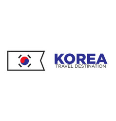 korean flag and travel destination words vector image