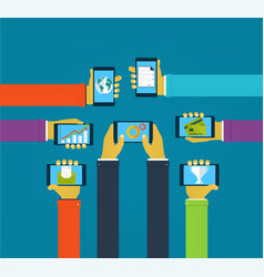 interaction hands using mobile apps vector image