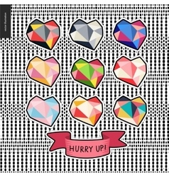 Patches hand drawn hearts set vector