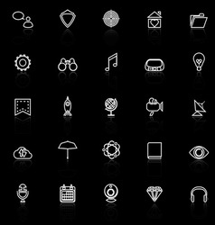 SEO line icons with reflect on black background vector image vector image