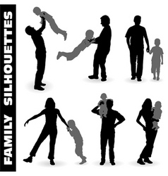 silhouette happy family vector image vector image