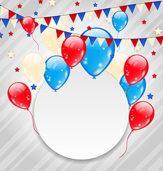 Celebration card with balloons in american flag vector image vector image