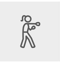 Female Boxer thin line icon vector image