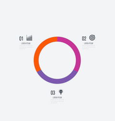Infographics template 3 options with circle vector