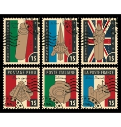 set of stamps with architectural landmarks vector image