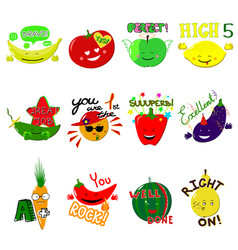 achievement school labels fruits and vector image