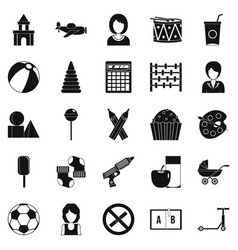 Children center icons set simple style vector