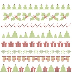Christmas embroidering elements vector image vector image
