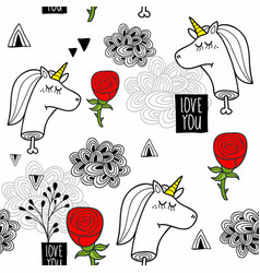 romantic seamless pattern with black and white vector image
