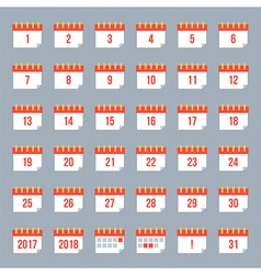 Set collection of flat design calendar icons vector image vector image