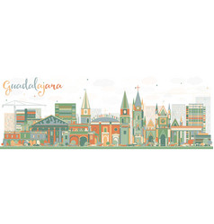Abstract guadalajara skyline with color buildings vector