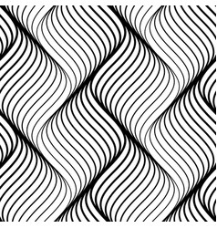 abstract seamless pattern of black wavy lines on vector image