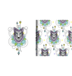 Abstract watercolor wolf print and seamless vector