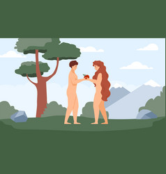 Background with bible adam and eve in paradise vector