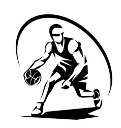 basketball player stylized silhouette logo vector image
